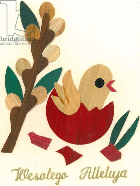 Traditional Polish greeting card with hatching chick (paper)