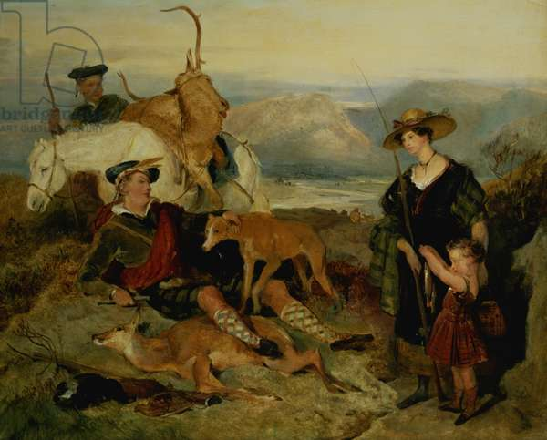 Deer Stalking in the Highlands, showing the Duchess of Bedford, the Duke of Gordon and Lord Alexander Russell (panel)