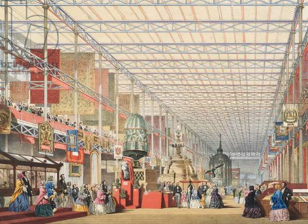 View of the Great Exhibition of 1851: British Nave, 1854 (colour litho)