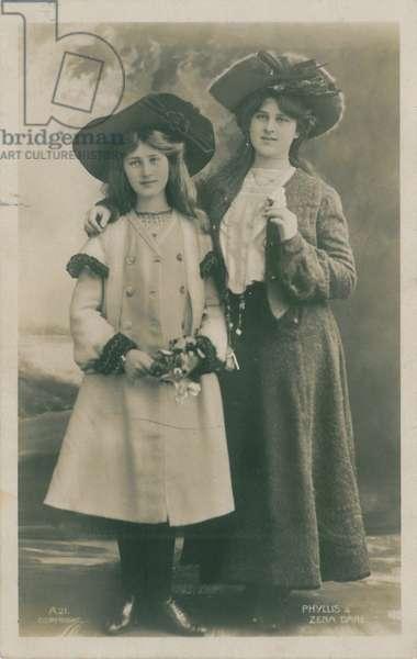Celebrities of the Stage: Miss Phyllis & Miss Zena Dare, c.1903-08 (b/w photo)