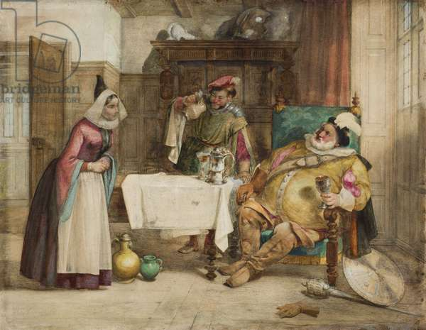 Scene from Shakespeare's 'Merry Wives of Windsor': Falstaff, Bardolf and Hostess, 1860 (w/c on paper)