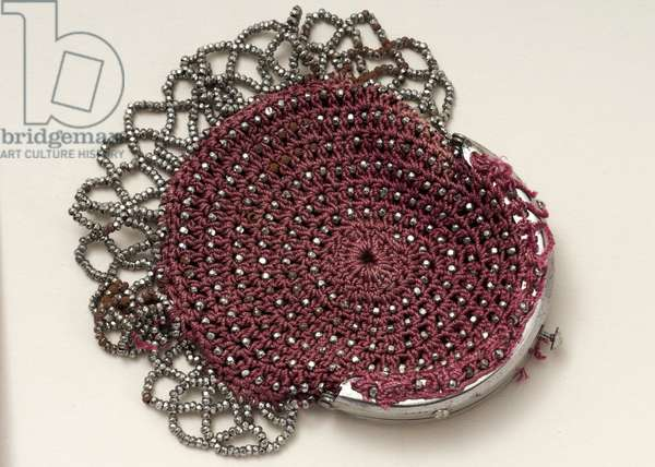 Pink purse with top clasp, bead decoration and mesh trim (cotton & steel)