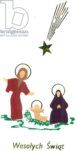 Traditional Polish greetings card with nativity scene (paper)