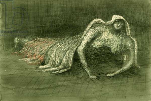 Figure in a Shelter, 1941 (pencil, ink, wax crayon and wash)