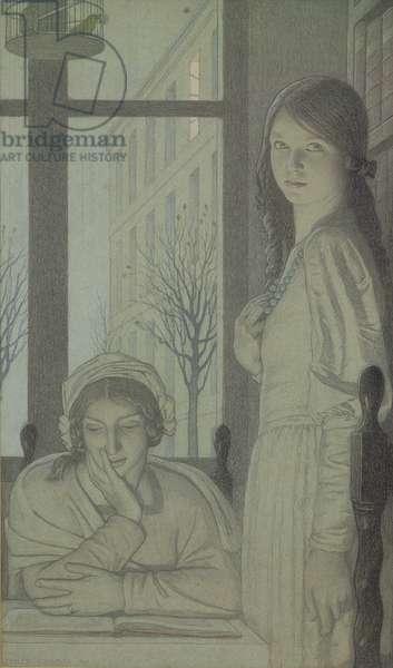 Interior - Evening, 1915 (pencil, wash and gouache)