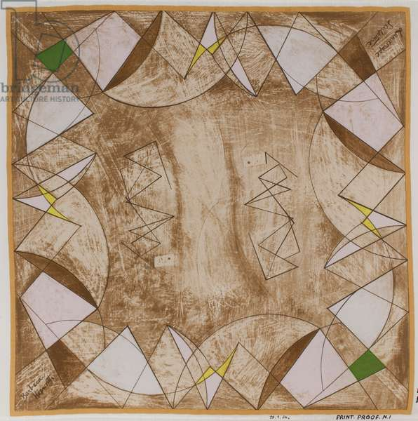 Proof for 'Landscape Sculpture', Ascher scarf design, 1947 (screenprint on silk)
