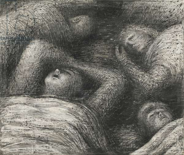 Four Grey Sleepers, 1941 (pencil, pen & ink, wax crayon and wash on paper)