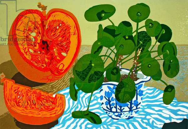 Missionary Plant and Pumpkin (linocut)