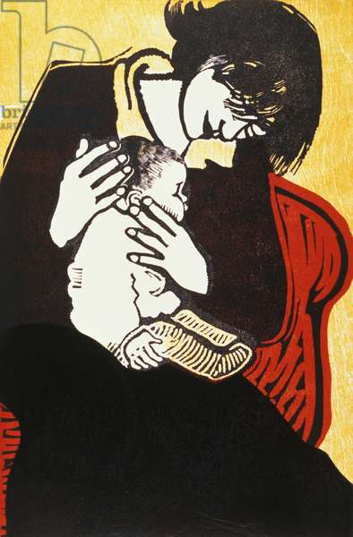 New Baby (2), 1990 (wood and linocut)