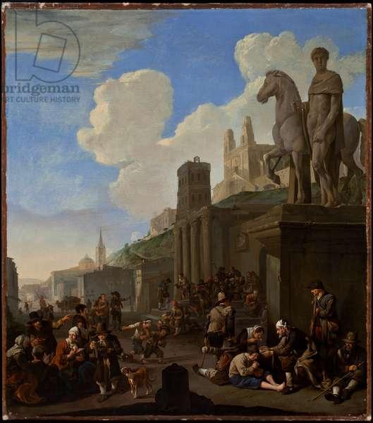 A Street Scene with a Capriccio of Roman Buildings (oil on canvas)