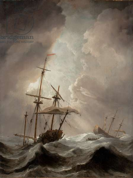 Storm at Sea (oil on panel)