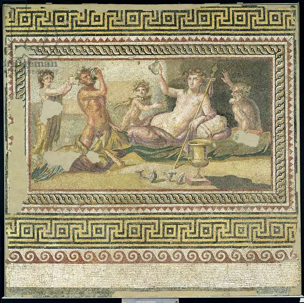 The Drinking Contest of Dionysus and Heracles, found at Antioch, c.100 AD (mosaic)