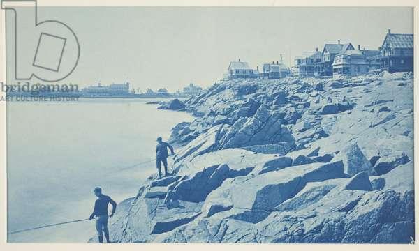 Two Men Fishing from Rocks at Seaside Resort, 1890s (cyanotype)