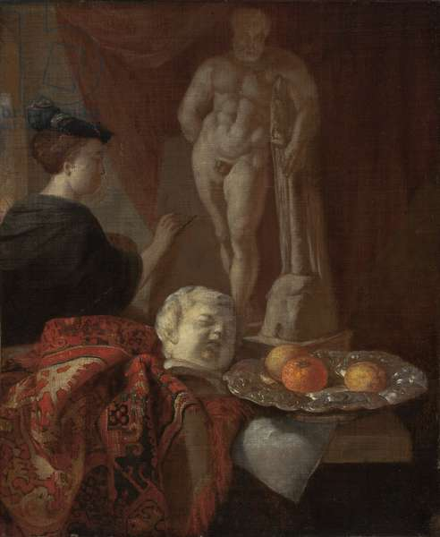 Still Life and a Woman at an Easel, late 1600s (oil on canvas)
