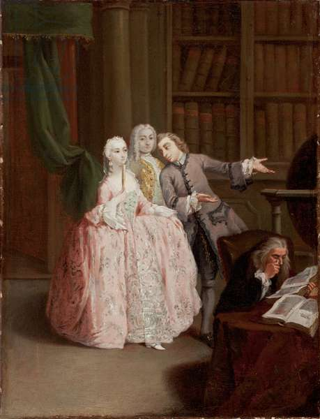 Visit to a Library (oil on canvas)