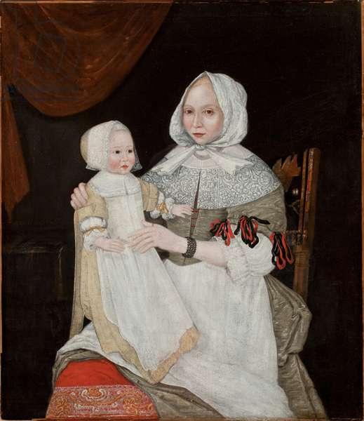 Mrs Elizabeth Freake and Baby Mary, c.1671-74 (oil on canvas) (see 183405 for pair)