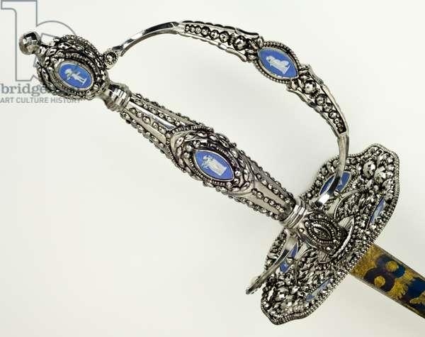 Detail of a Smallsword, c.1790 (faceted, burnished, blued & gilded steel with iron & Jasper ware)