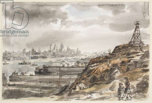 New York from Weehawken (w/c over graphite on paper)