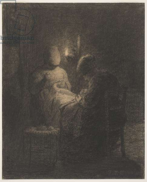 The Vigil (Women Sewing) (charcoal on paper)
