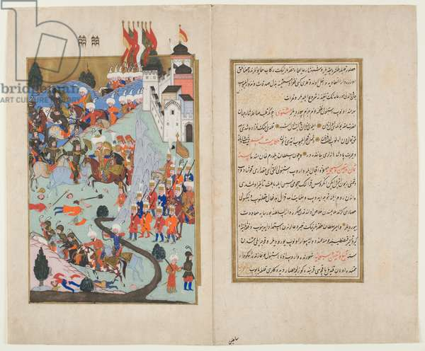 Bayezid I, 'The Thunderbolt', Routs the Crusaders at the Battle of Nicopolis, from the 'Hunernama' (opaque w/c and ink on paper)