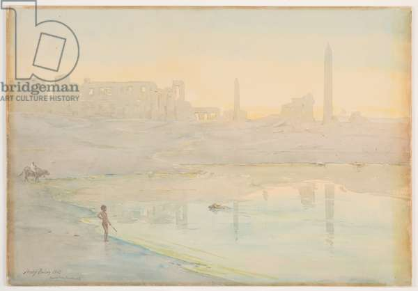 Sacred Lake, Karnak, 1905 (w/c over pencil on paper)