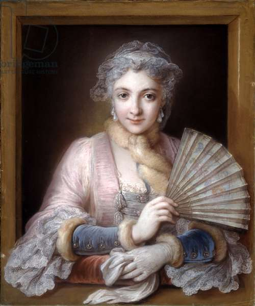 Charlotte Philippine de Chatre de Cange, Marquise de Lamure (pastel on blue paper)