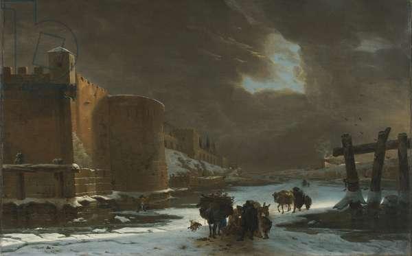 Frozen Moat Outside City Walls (oil on canvas)