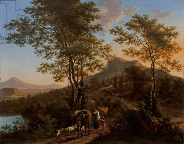 Italian Landscape with Peasants (oil on copper)