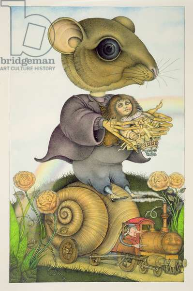 Mouse and Doll on a Snail Train (pencil and coloured crayon paper) (pair of 150078)
