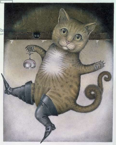 Puss in Boots doing a Somersault (pencil and coloured crayon on paper)