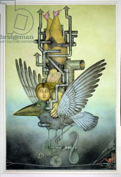 Balancing Girl on Mechanical Bird on Tightrope (pencil and coloured crayon on paper)