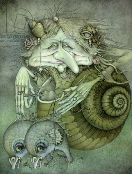 Sea Witch (pencil and  coloured crayon on paper)
