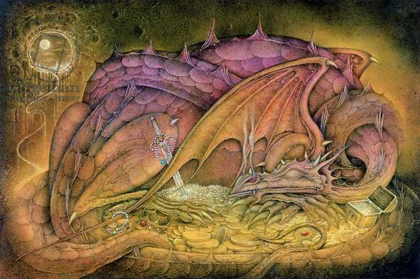 Sleeping Dragon on Gold Hoard (pencil and coloured crayon on paper)