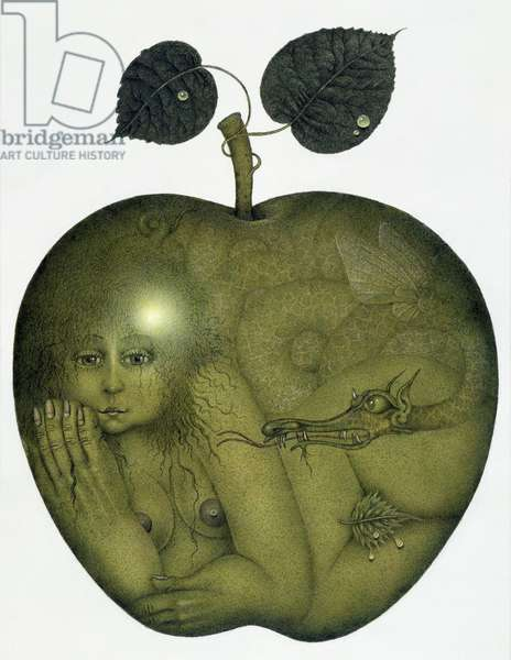 Apple and Eve and Serpent (pencil and coloured crayon on paper)