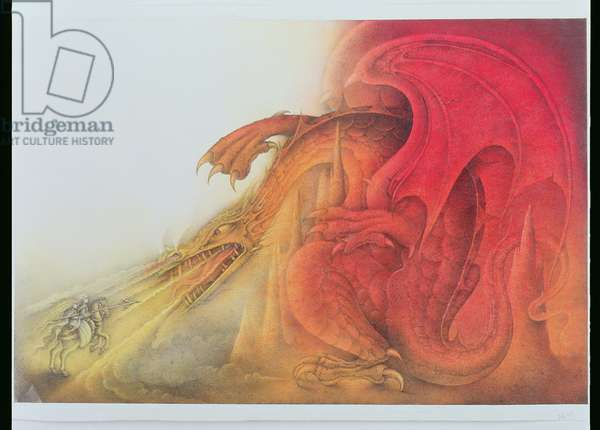 Red Dragon with St. George and Virgin on Horse (pencil and coloured crayon on paper)