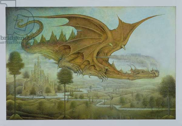 Flying Dragon over Landscape (pencil and coloured crayon on paper)