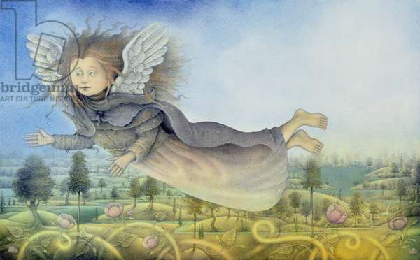 Flying Fairy Over Landscape (pencil and coloured crayon on paper)