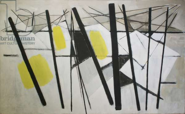 White, Black and Yellow (Composition February), 1957 (oil on canvas)