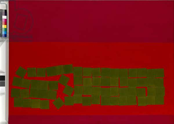Olive Green Squares on Vermillion, 1968 (oil on board)