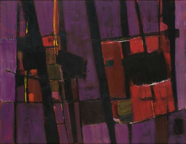 Red Movement on Violet, 1958 (oil on canvas)