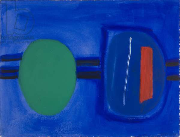 Two Connected Images on Blue, 1988 (acrylic on paper)