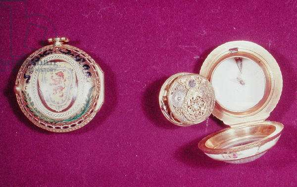 Two British pocket watches, left: gold pair-case, outer enamelled with the Lion of Scotland, by Richard Carrington, 1777, right: porcelain case and bezel, white, with painted flowers and fly, by James Grantham, c.1750 (see also 66854)