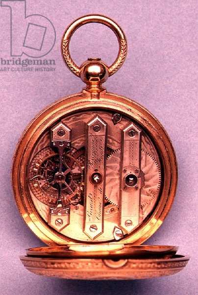 Swiss pocket watch with gold engraved case, showing keyless wound movement, by Girard Perregaux, 1879-80