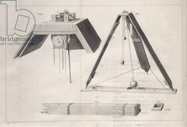 Collapsible regulator, built by Alexander Cumming for Captain Phipp's voyage towards the North Pole in 1773 (engraving on paper)