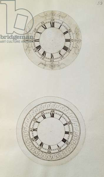 Two designs for large enamel watch dials, from mechanical notes and drawings compiled by John Harrison (1693-1776) and his son William (c.1726-72) (pen and ink on paper)