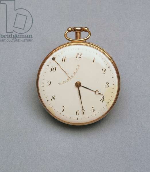French pocket watch with gold case and large white enamel dial, probably the oldest surviving self-wind watch, said to have belonged to Czar Nicholas I (1796-1855), by Abraham-Louis Breguet (1747-1823), 1783