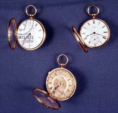 Selection of gold English pocket watches: top left: decimal timekeeper by Richard Dover Statter and Thomas Statter, 1862; top right: watch by James Ferguson Cole, 1847-8; bottom: watch by Alexander Watkins, 1851 (see also 66870)
