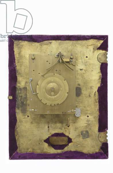 The back of the dial and movement of a table clock, c.1660 (wood & brass)