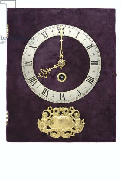 The dial, signature, chapter-ring and hands of a table clock, c.1660 (enamel, brass & velvet)