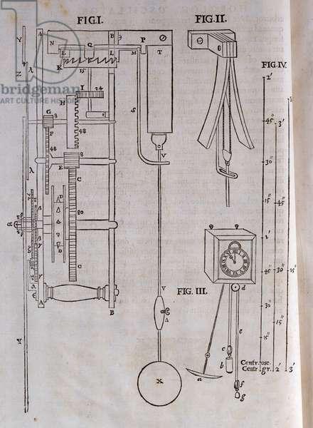 Christiaan Huygens' pendulum clock, illustrated in his work, 'Horologium Oscillatorium', 1673 (engraving on paper)